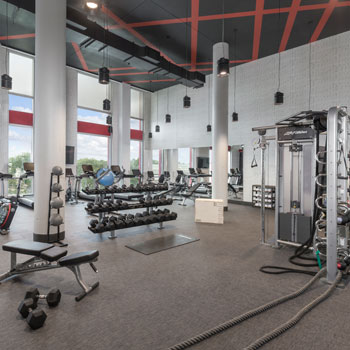 The fitness center at The Summit