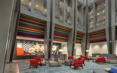 Atrium lounge area with art on the wall