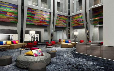Colorful and contemporary spaces for socializing