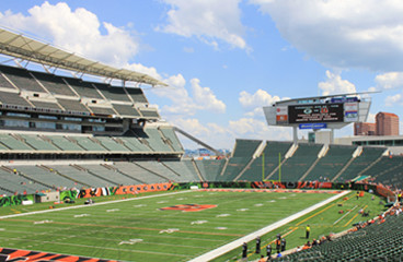 empty bleachers at Paul Brown stadium
