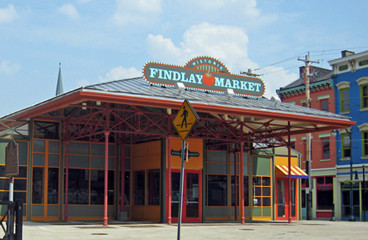 Findlay market sign on top of colorful building