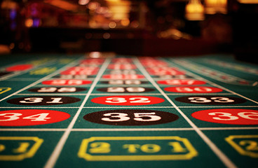 Casino roulette table with numbers