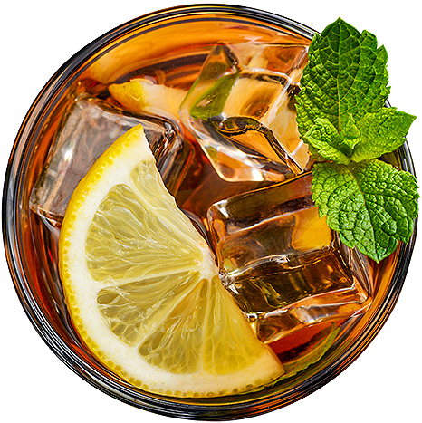 iced tea with lemon and mint garnish