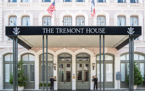 front entrance of Tremont House Hotel with black awning