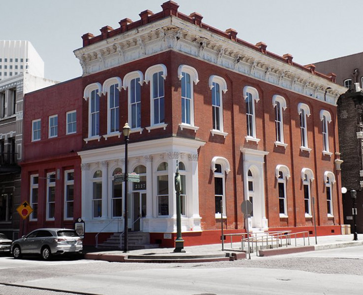 galveston arts center red brick building with white trim