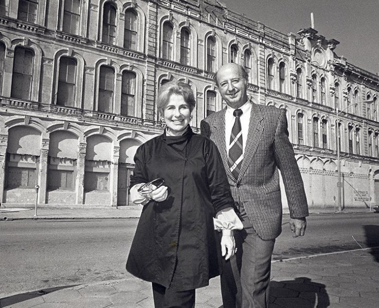 historic black and white photo of couple in front of Tremont Hotel