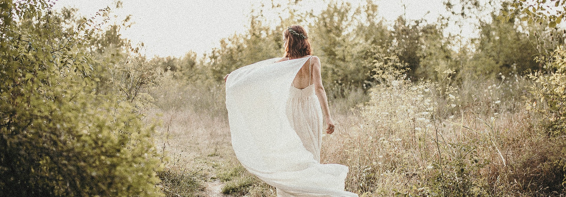 beauty shot of womans wedding dress
