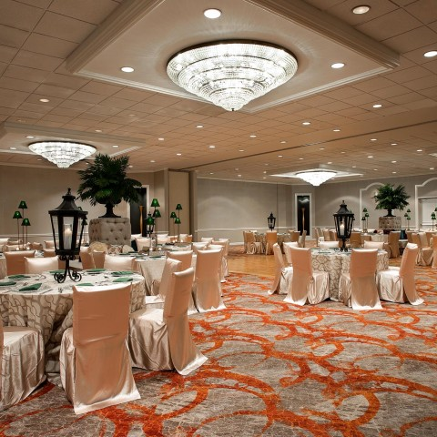 elegantly decorated ball room