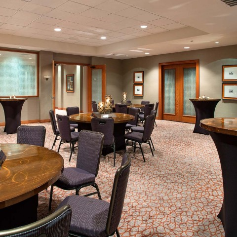 meeting venue with tables and chairs