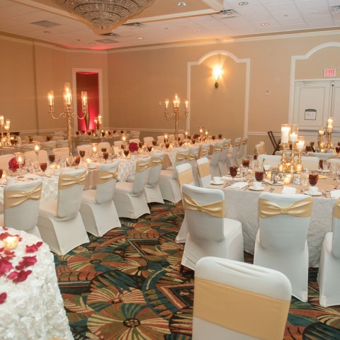 event room decorated for wedding