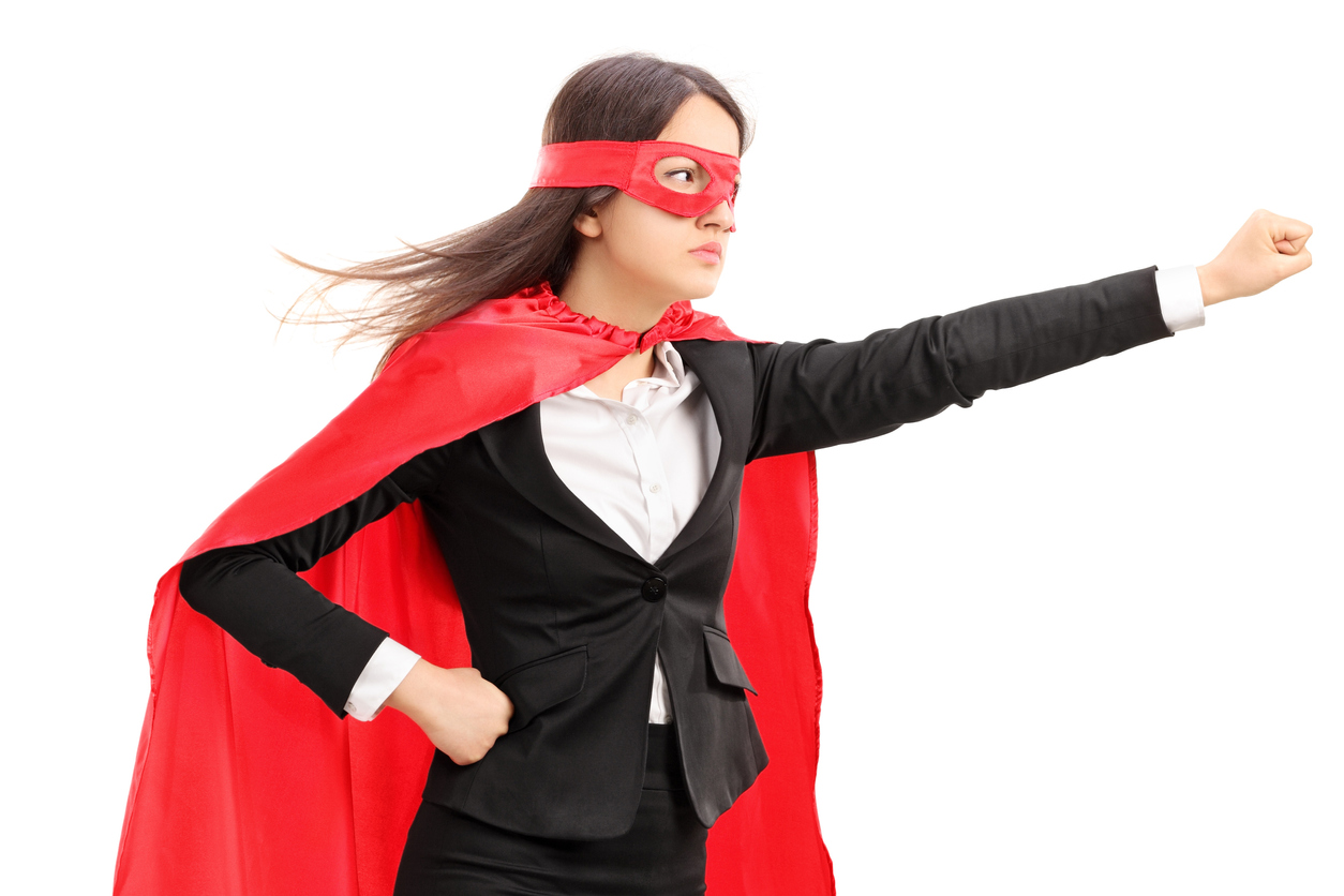 superhero woman with cape on