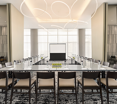 large boardroom with u table and chairs