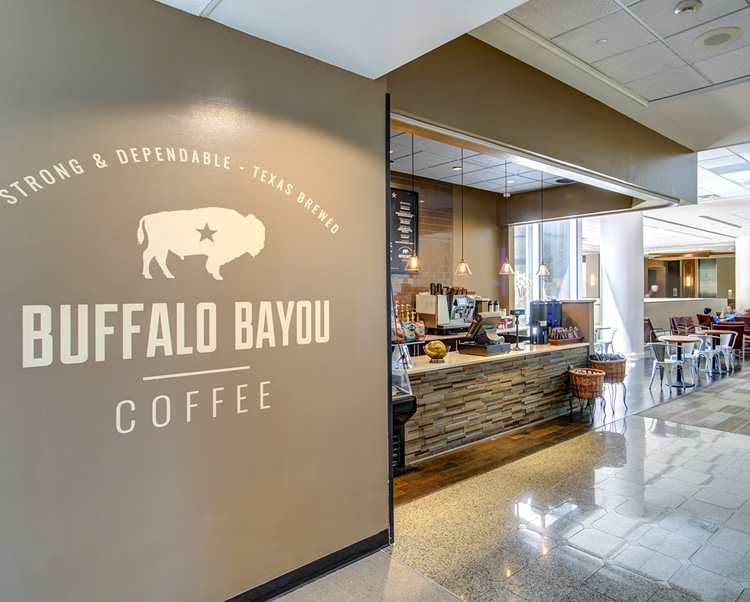 buffalo bayou coffee shop with grey wall
