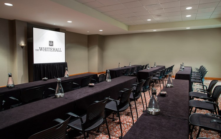 small conference room with 3 rows of tables and projection screen at front of page
