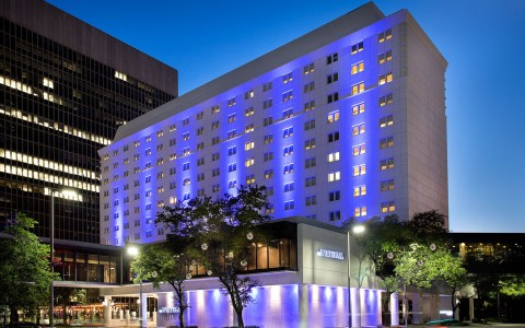 hotel exterior with blue accent lighting