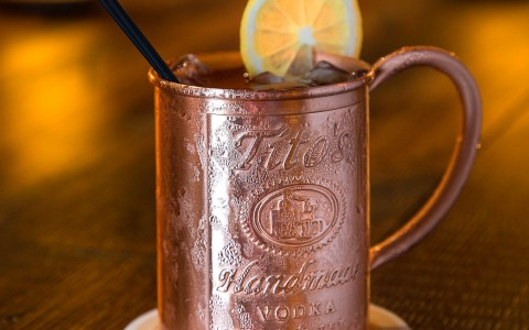 titos ginger mule with copper mug