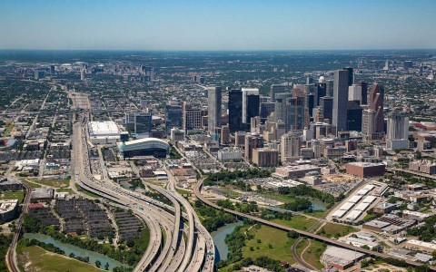 Aerial shot of downtown houston