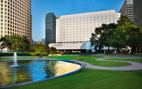 The Whitehall Houston exterior with reflection pond