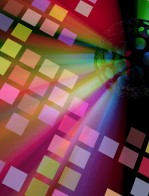 disco ball on geometric rainbow block background