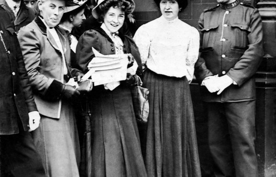 Mabel Capper and Suffragettes with Petition to Vote