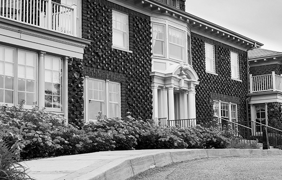 Black and white building header
