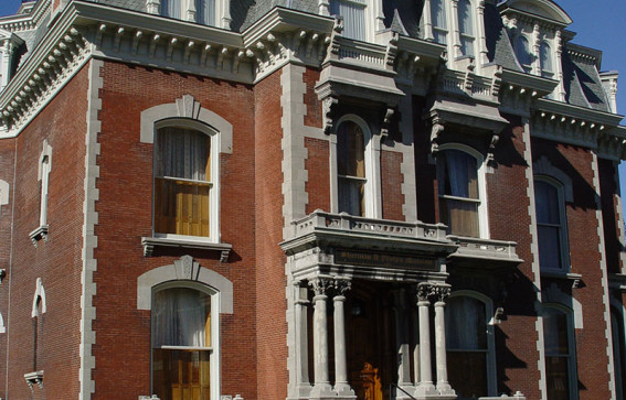 front of the phelps mansion museum in binghamton new york