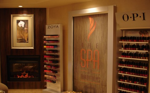 Nail polish stands at the Spa