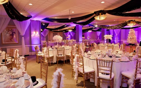 Room decorated for a wedding