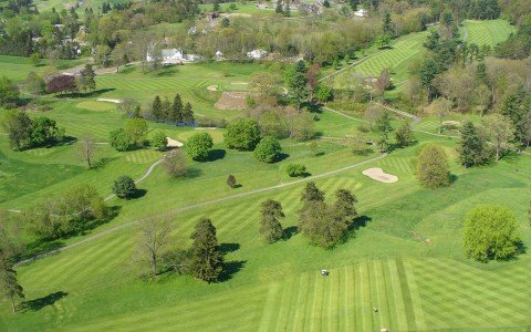 Overhead  image of golf courses
