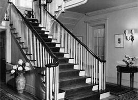 Black and white picture of stairs at Traditions