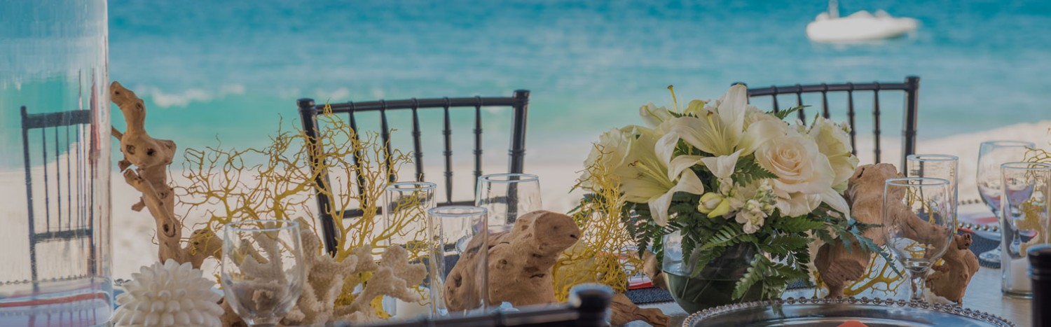 beautiful ocean view table setting