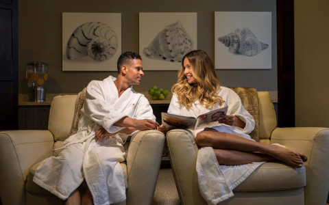 couple with robes at Aquanox Spa