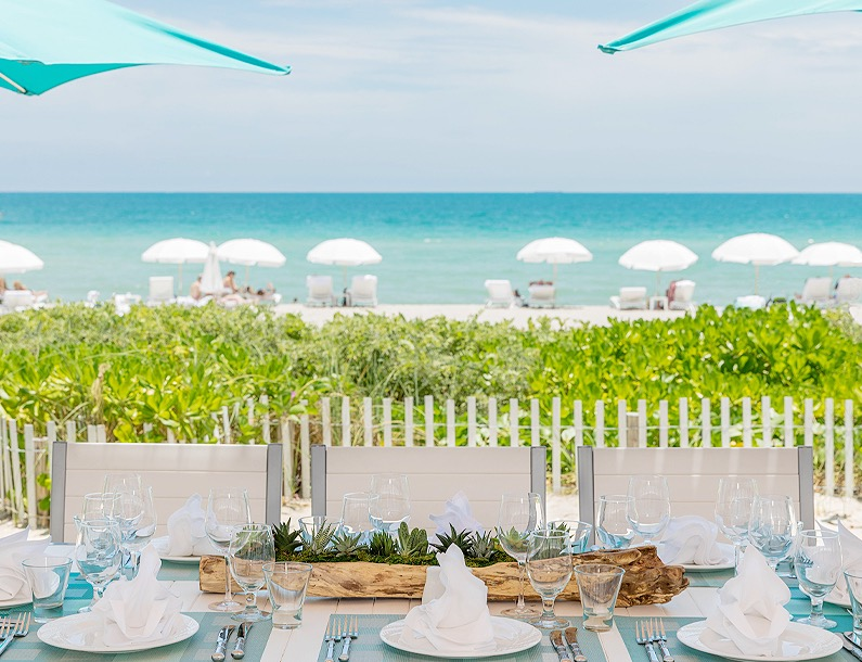 special event table set up by the beach