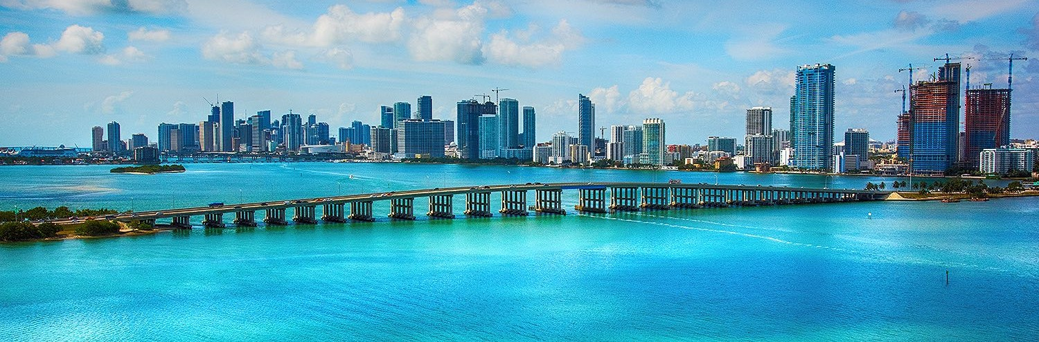 miami beach skyline and bridge over the water