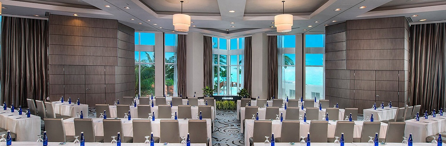 Trump International Beach Resort ocean view ballroom set up classroom style overlooking the water
