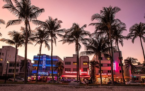 Miami beach ocean avenue skyline at twilight