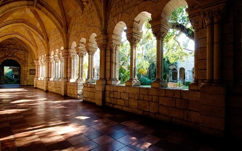 Spanish monastery walk way