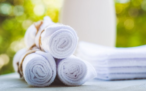 spa towels bundled up