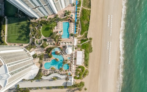 trump international beach resort aerial view of pool area and ocean