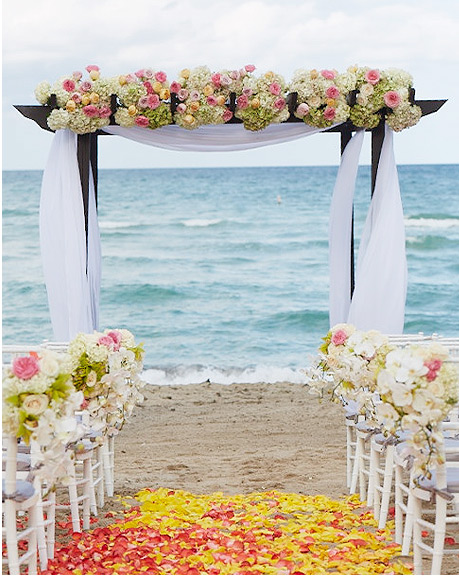 beach ceremony altar and chair set up