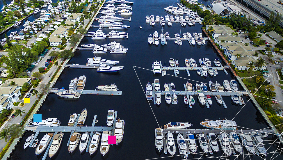 Aerial view of boats docked on marina