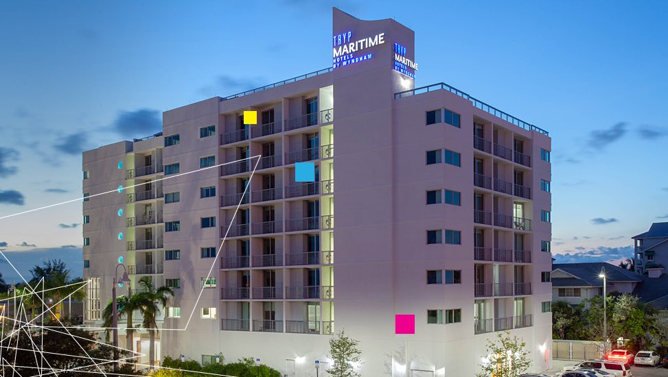 TRYP Fort Lauderdale building at night