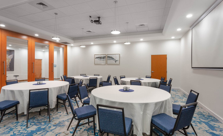 Conferences room set up with round tables