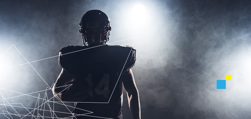 Football player silhouetted