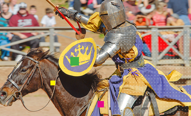 knight riding a horse in a joust contest