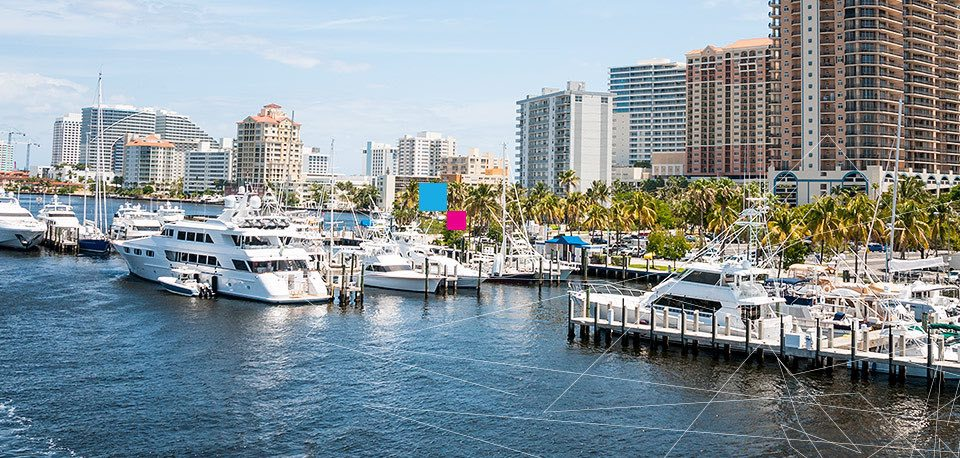 Inter-coastal waterways with large boats docked in Fort Lauderdale Florida