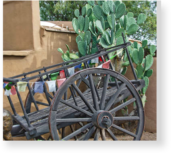 decorative wheel barrel outside