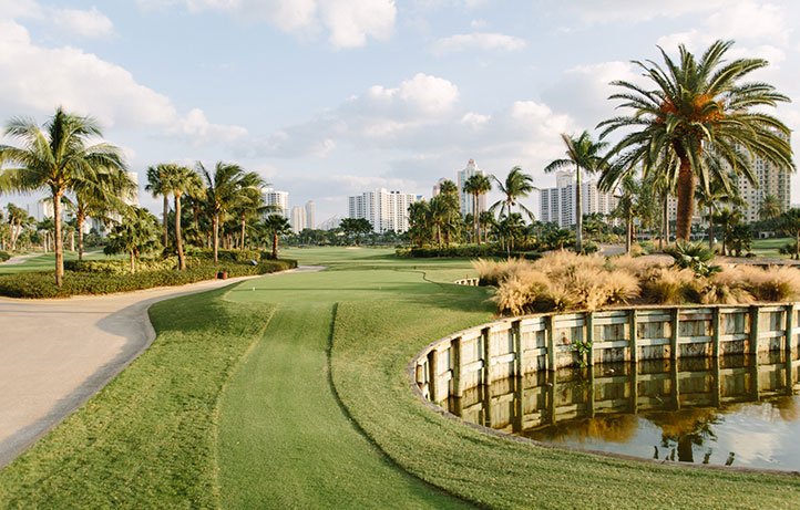 Golf courses next to a lake with sand dunes, palm trees, and buildings in the distance