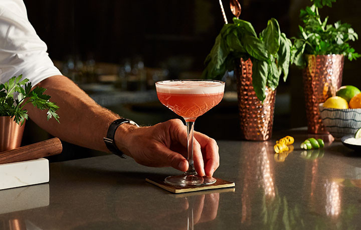 A bartender sets a pink cocktail drink on a coaster on the bar