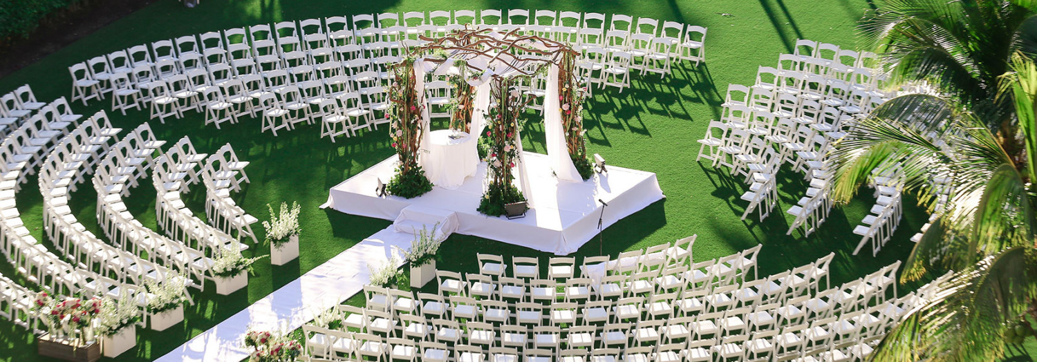 outdoor wedding ceremony set up in circular seating